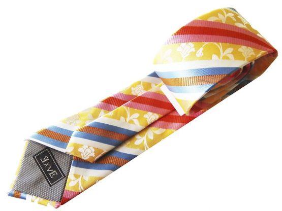 Corbata rayas estampados amarillos