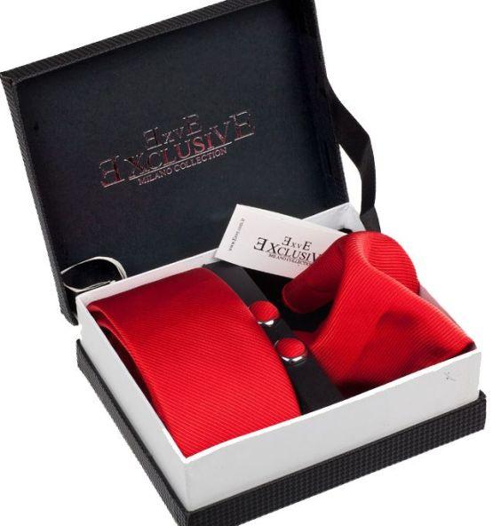 pack corbata, pañuelo y gemelos rojos
