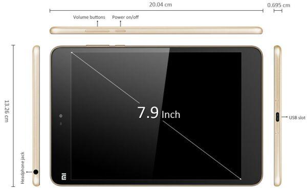 Dimensiones Xiaomi Mi Pad 2