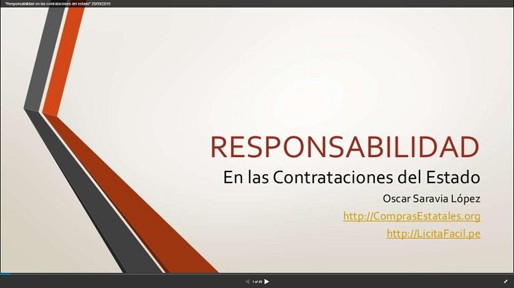 """Video del Seminario On Line """"Responsabilidad en las Contrataciones con el Estado (Proveedores)"""""""