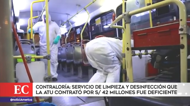 Contraloría: Servicio de desinfección que ATU contrató por S/42 millones fue deficiente