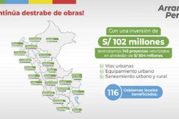 Transfieren S/ 102 millones a municipios para destrabar ejecución de 145 obras