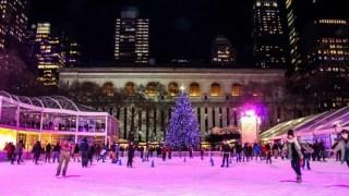 Patinando no gelo no Bryant Park, NY