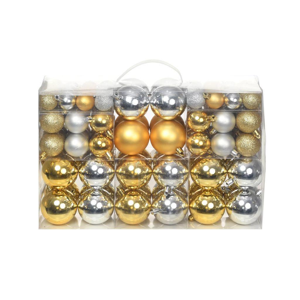 Lote de Bolas de Navidad 100 Unidades de 6 cm (Plateadas/Doradas)