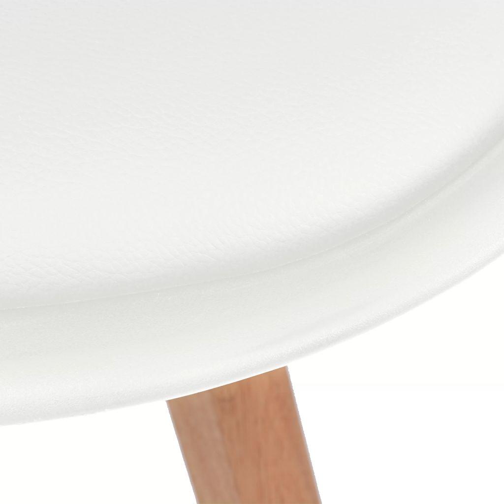 Silla de Cuero Artificial Blanco y Madera