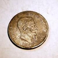 ITALIA VITORIO EMANUEL II 1871 5 LIRAS M.B.C+
