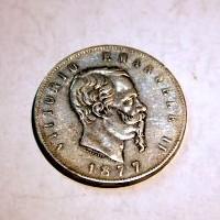 ITALIA VITORIO EMANUEL II 1877 5 LIRAS M.B.C+