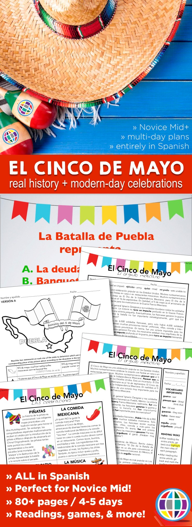 Teach your Spanish students about Cinco de Mayo -- the real history behind the holiday and how and where it is most celebrated. Feel confident teaching the history of this celebration all in Spanish!