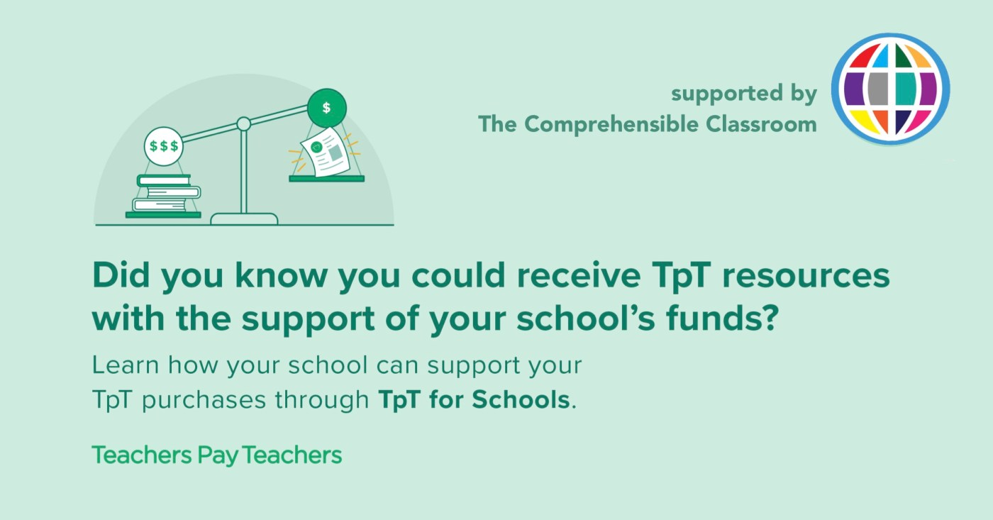 Register for TpT for Schools to make it easier for your school to buy you the resources you want from Teachers Pay Teachers!
