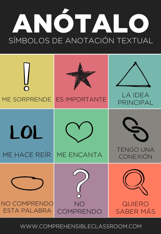 When students annotate a text while reading, it focuses their attention on meaning and personal connection. Train your Spanish students to use these symbols!