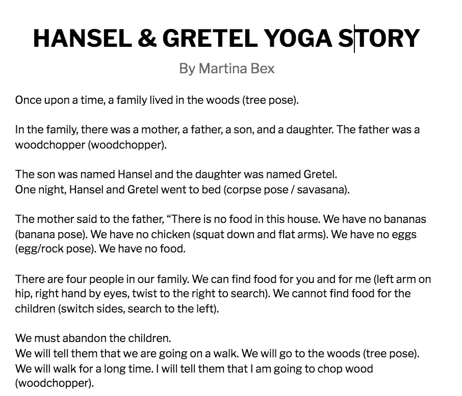 Click to read a Hansel & Gretel yoga story!