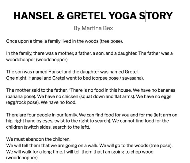Click to read a Hansel & Gretel yoga story!
