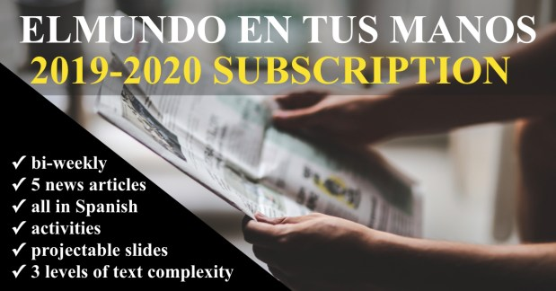 The 2019-2020 subscription to El mundo en tus manos features more resources than ever before! Pre-order today https://www.teacherspayteachers.com/Product/EL-MUNDO-EN-TUS-MANOS-News-summaries-for-Spanish-students-2019-2020-PRE-ORDER-4486025