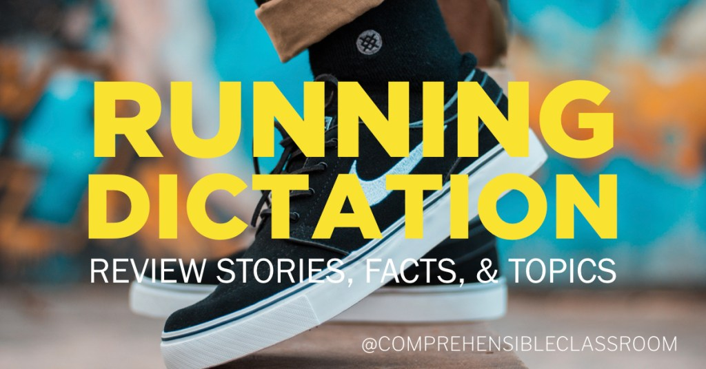 Running Dictation is a review activity that gives students an opportunity to revisit content, stories, facts... anything!