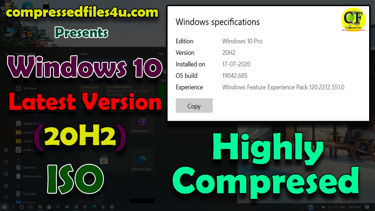 Windows 10 20H2 ISO Highly Compressed