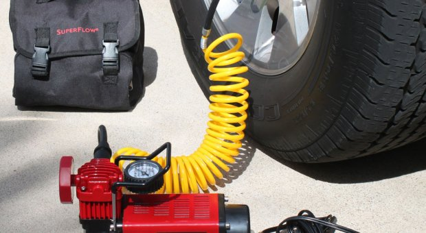 Inflate a car tire using MV50 SuperFlow Compressor