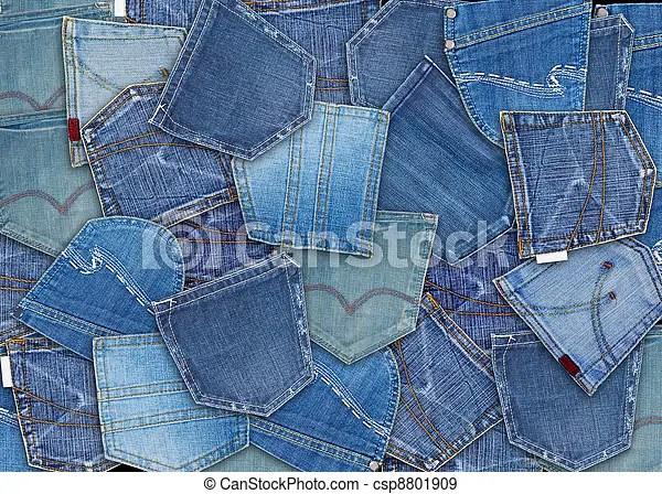 Blue jeans pocket. Background of different jeans pocket.