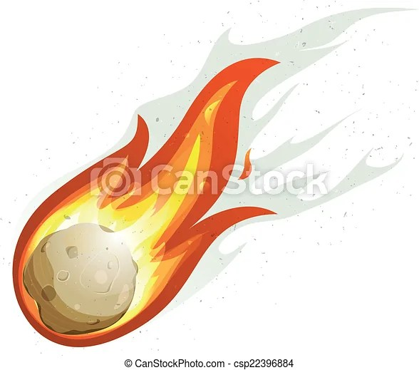 Cartoon fireball and comet flying. Illustration of a comic ...