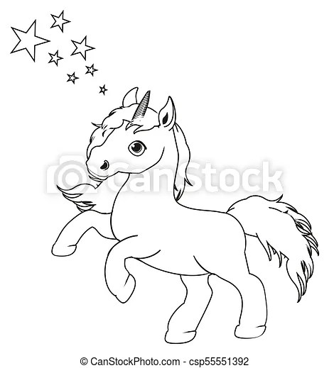 Not colored unicornw ith stars. Coloring unicorn stand ...