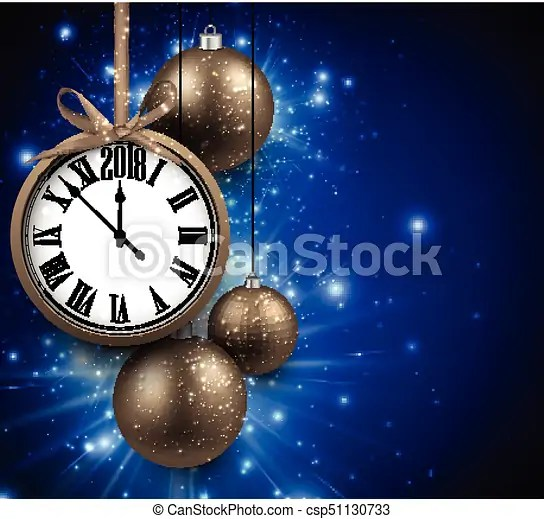2018 new year background with clock  2018 new year blue background     2018 New Year background with clock    csp51130733
