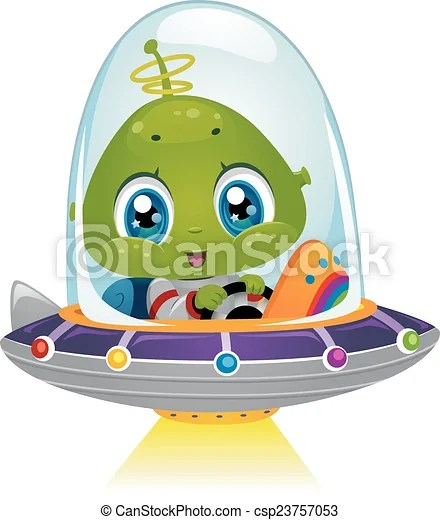 Alien space ship beam Illustration featuring an alien boy