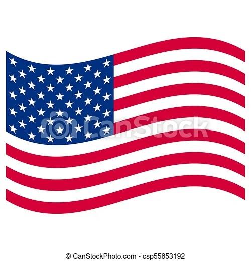 American Flag On White Background Vector Illustration