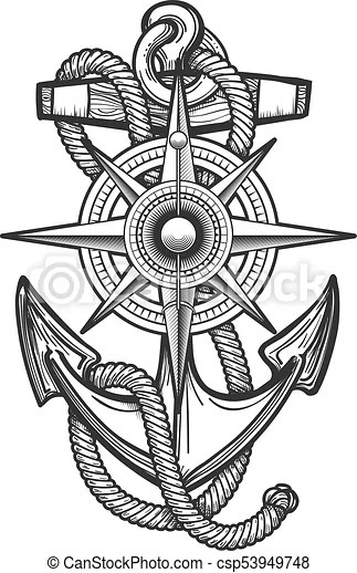 Anchor With Compass Engraving Illustration Anchor With