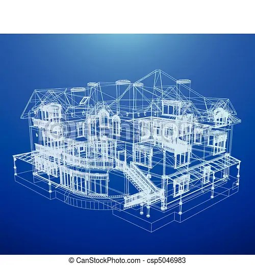 Architecture Blueprint Of A House Architecture Blueprint Of A House Over A Blue Background Canstock
