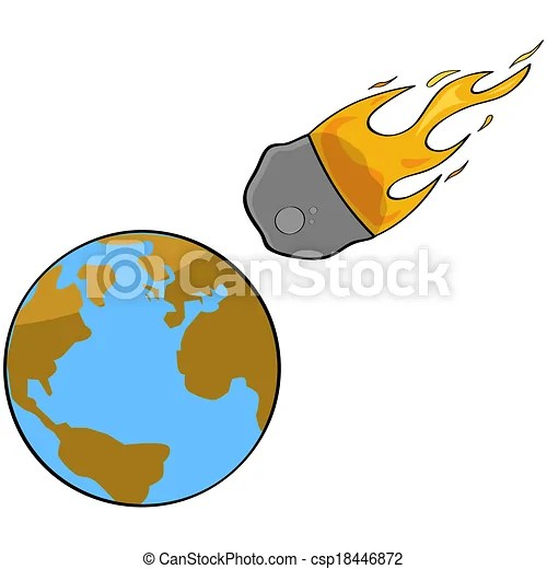 Asteroid collision Cartoon illustration showing a