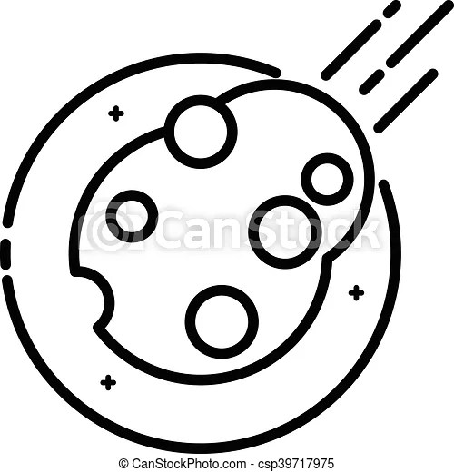 Asteroid in space, vector outline icon.