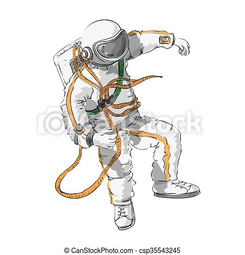 Astronaut floating in space color and outline Astronaut