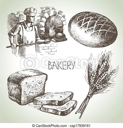 Bakery Sketch Icon Set Vintage Hand Drawn Illustrations
