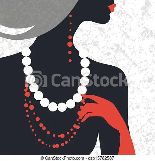 Beautiful Fashion Woman Silhouette Flat Design