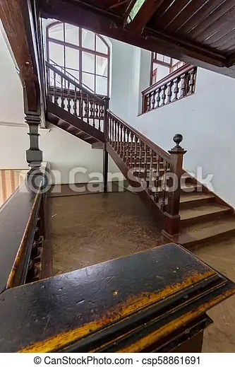 Beautiful Old Wooden Staircase With Ornamental Handrails Leading   Wood Stairs In House   Reclaimed Wood   Natural Wood   Residential   Minimalist   Basement