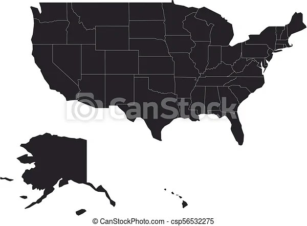 Free vector map of the usa for all. Blank Map Of United States Of America Usa Simplified Dark Grey Silhouette Vector Map On White Background Canstock