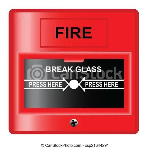 Break glass. A 'break glass' fire alarm over a white background.