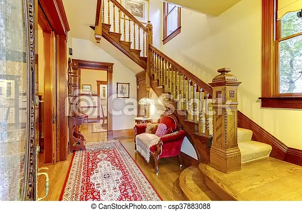 Bright Hallway With Colourful Rug Nice Red Sofa Wooden Staircase   Beige Carpet On Stairs   Pattern   Dark Beige   Nice   Bound Edge   Hardwood Transition