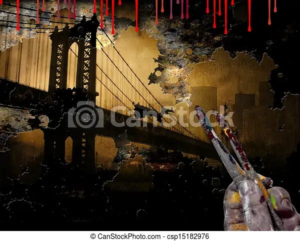 Brooklyn bridge nyc painting with artist hand and brushes  Brooklyn Bridge NYC Painting   csp15182976
