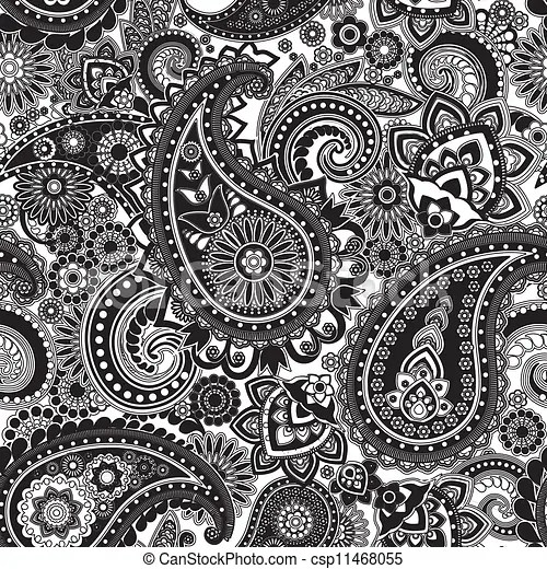 Clipart Vector Of Paisley Seamless Pattern Based On