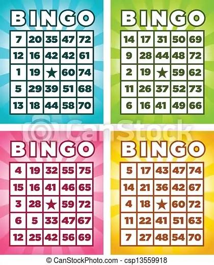 Vector Clip Art Of Bingo Cards Colorful Set Of Bingo