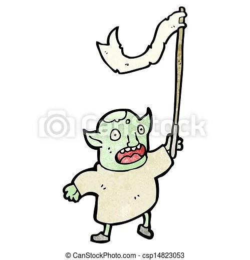 cartoon goblin waving flag - csp14823053