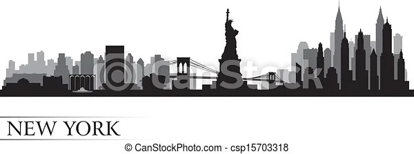 nouveau, York, ville, Horizon, détaillé, silhouette - csp15703318