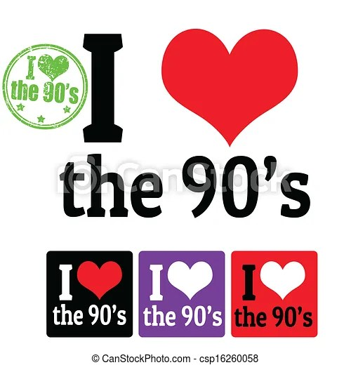 Download Clipart Vector of I love the 90's sign and labels on white ...
