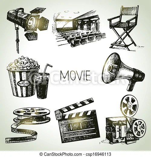Vector Clip Art of Movie and film set. Hand drawn vintage ...