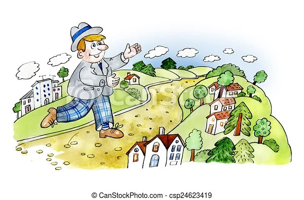 Happy man walking in countryside