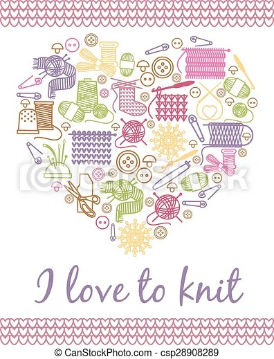 Download Vector of I love knitting heart. Needlework and knitting ...