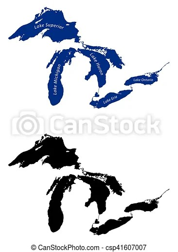 Vector Clipart of great lakes map - map of the great lakes ...