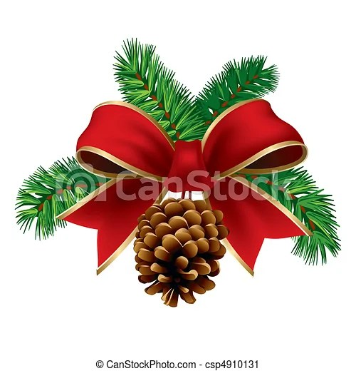 Vector Clip Art Of Xmas Ribbon Christmas Pine Twigs With