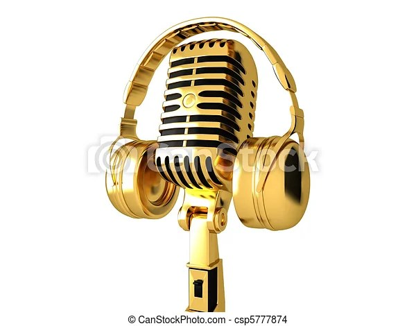 Drawing of Classic microphone and headphones - Golden ...