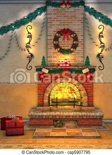Stock Illustrations Of Christmas Fireplace A Wonderfully